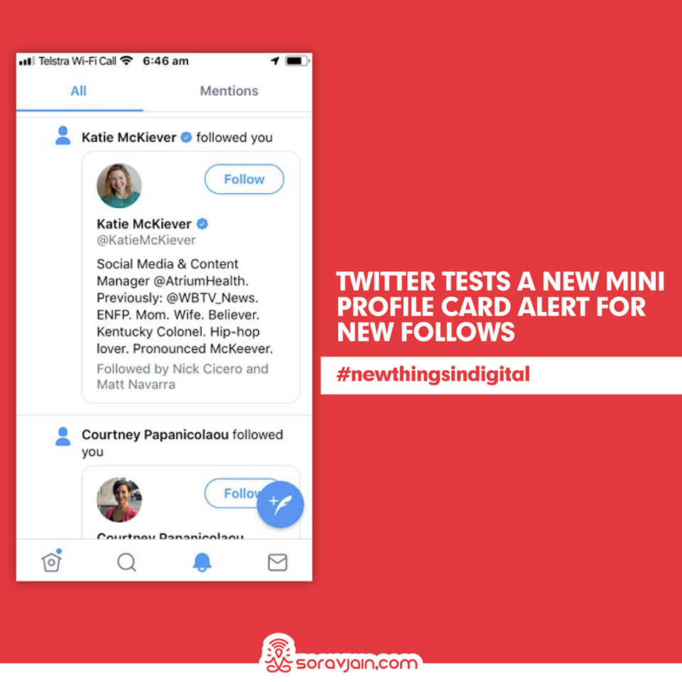 Twitter Tests a New Mini Profile Card Alert For New Follows