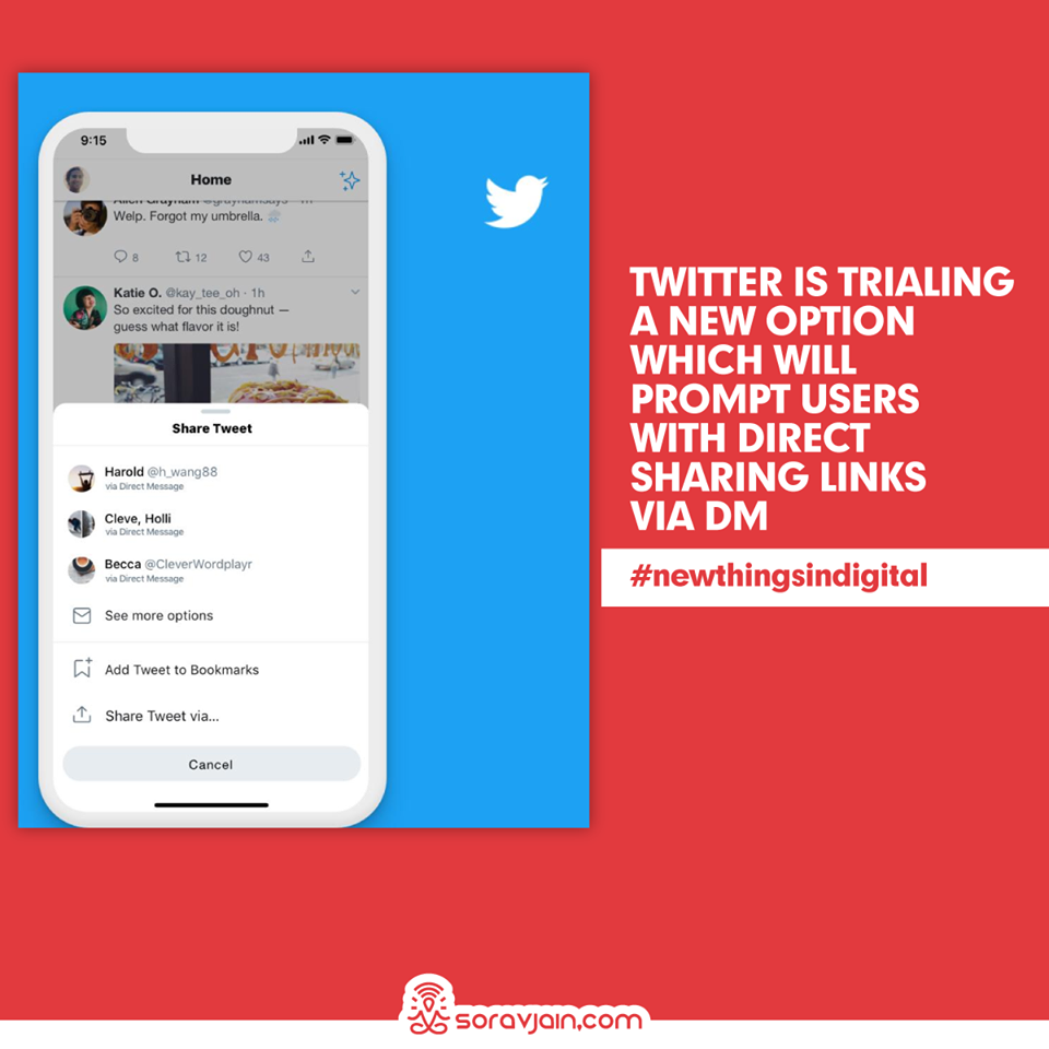 Twitter is Trialling a New Option Which Will Prompt Users With Direct Sharing Links Via DM