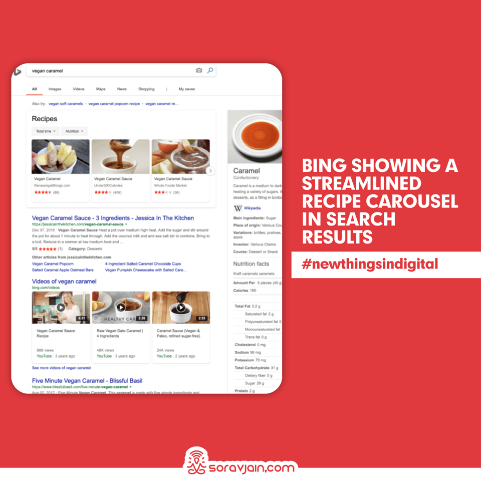 Bing Showing A Streamlined Recipe Carousel in Search Results