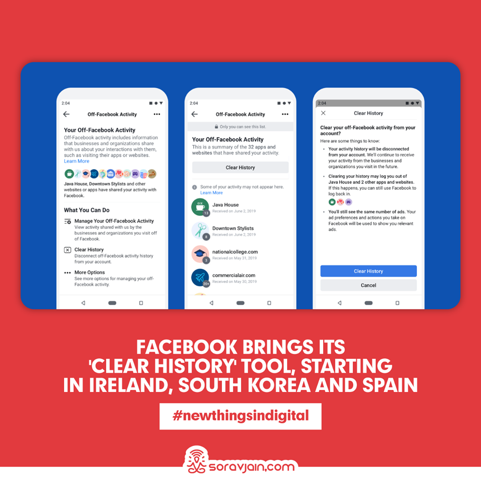 Facebook Brings Its 'Clear History' Tool, Starting in Ireland, South Korea and Spain