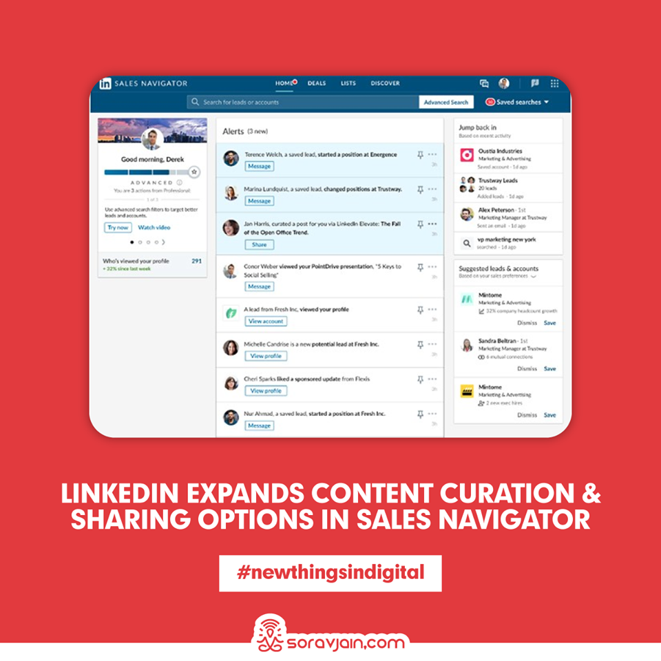 LinkedIn Expands Content Curation and Sharing Options in Sales Navigator