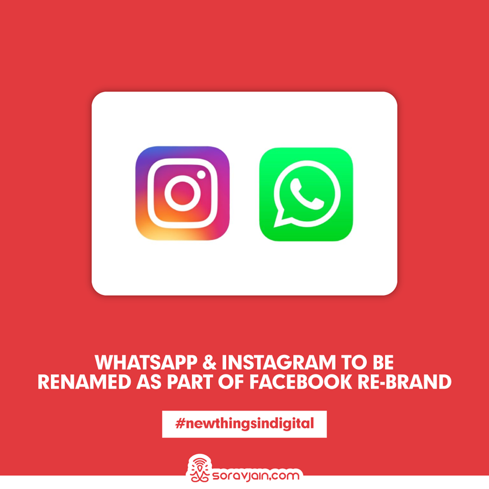 WhatsApp And Instagram To Be Renamed As Part Of Facebook Re-Brand