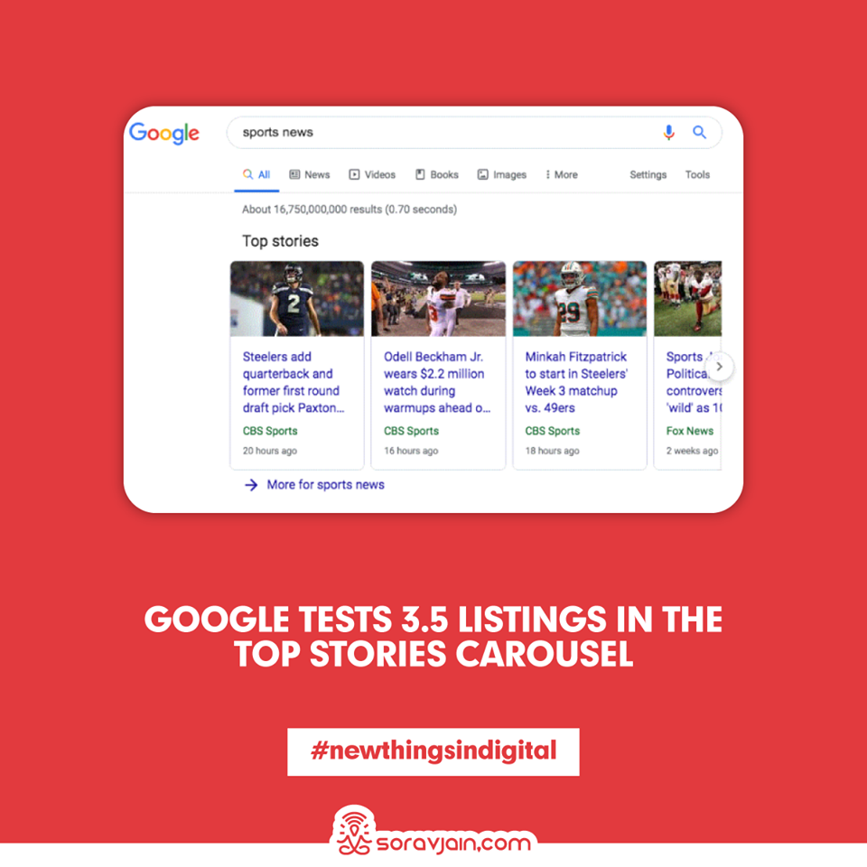 Google Tests 3.5 Listings In The Top Stories Carousel