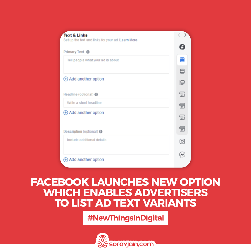 Facebook Launches a New Option Which Enables Advertisers to List Ad Text Variants