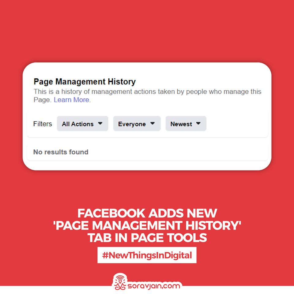 Facebook Adds New 'Page Management History' Tab in Page Tools