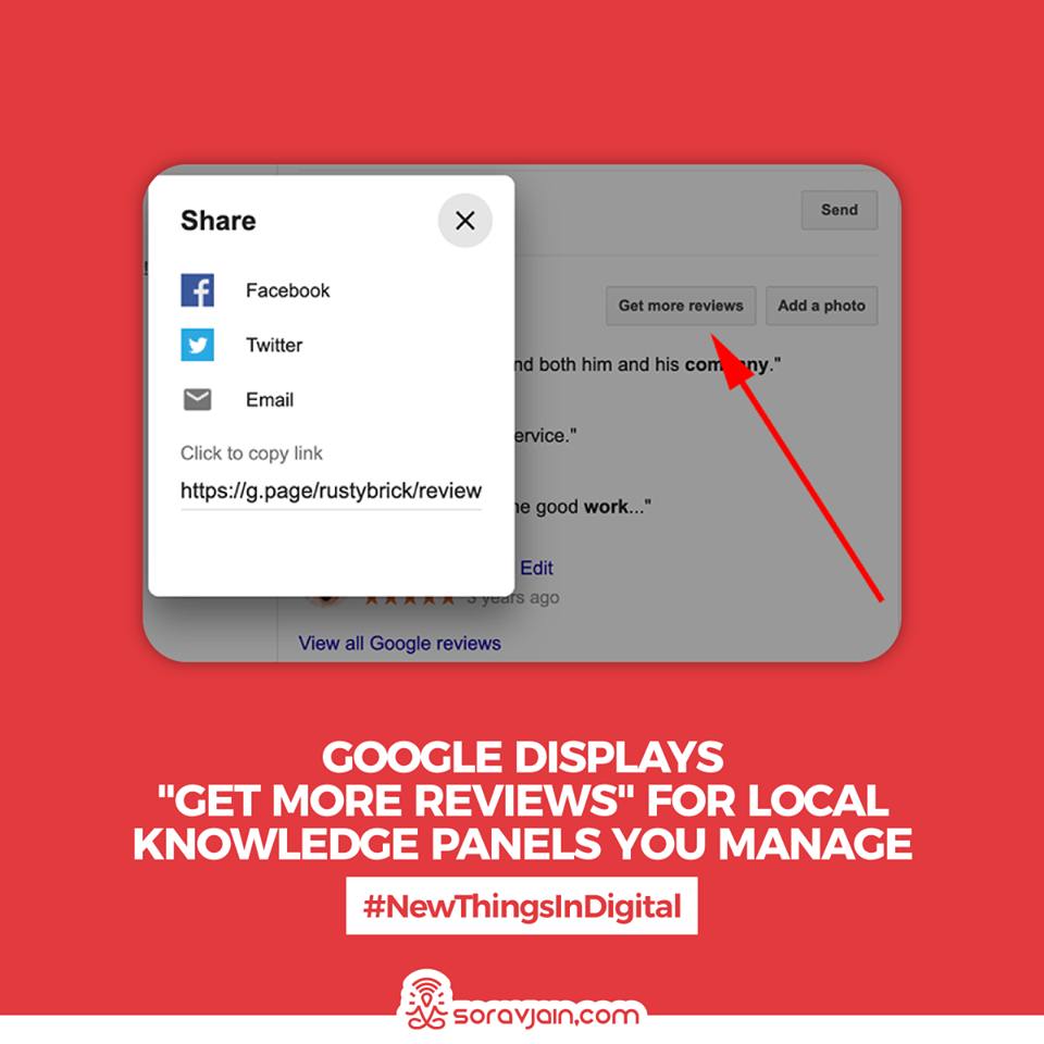 """Google Displays """"Get More Reviews"""" For Local Knowledge Panels You Manage"""