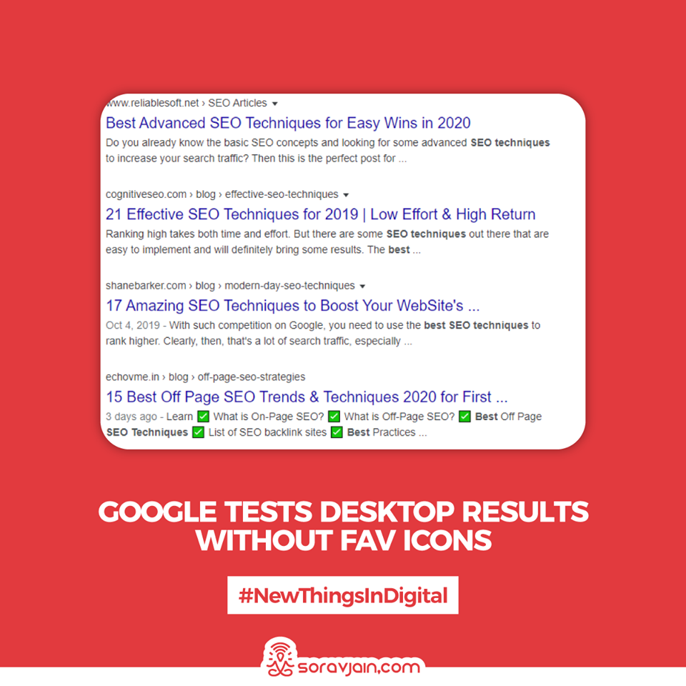 Google Tests Desktop Results Without Fav Icons