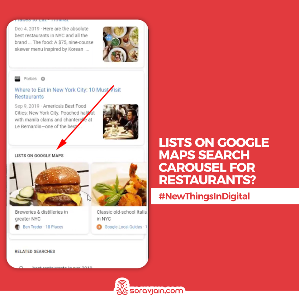 Lists On Google Maps', Search Carousel For Restaurants