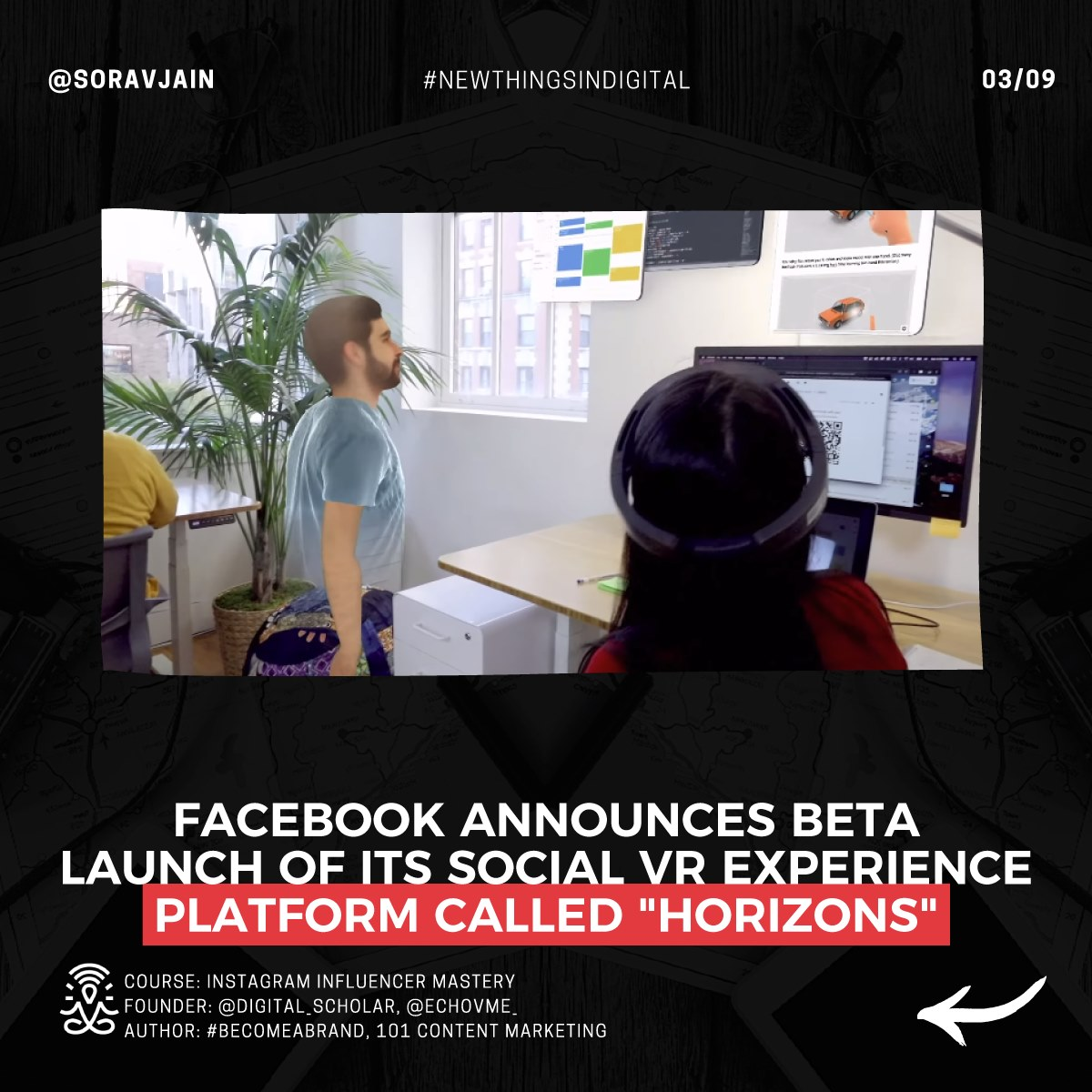 Facebook announces the BETA launch of its social VR experience platform called Horizons.