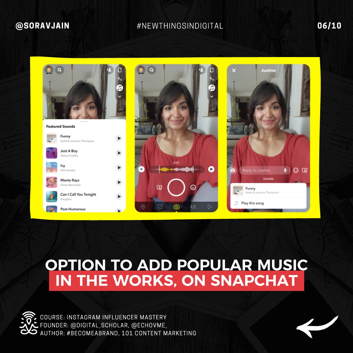 Option to add Popular Music in the works, on Snapchat