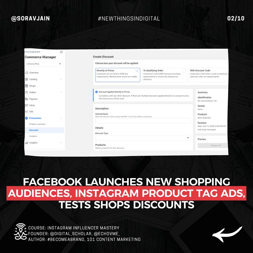 Facebook launches new Shopping audiences, Instagram Product Tag ads, tests Shops discounts