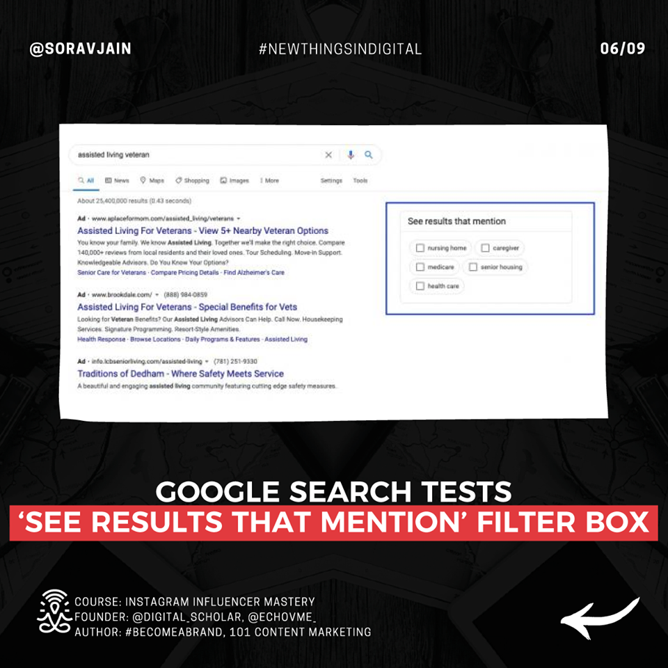 Google Search tests See Results that mention Filter Box