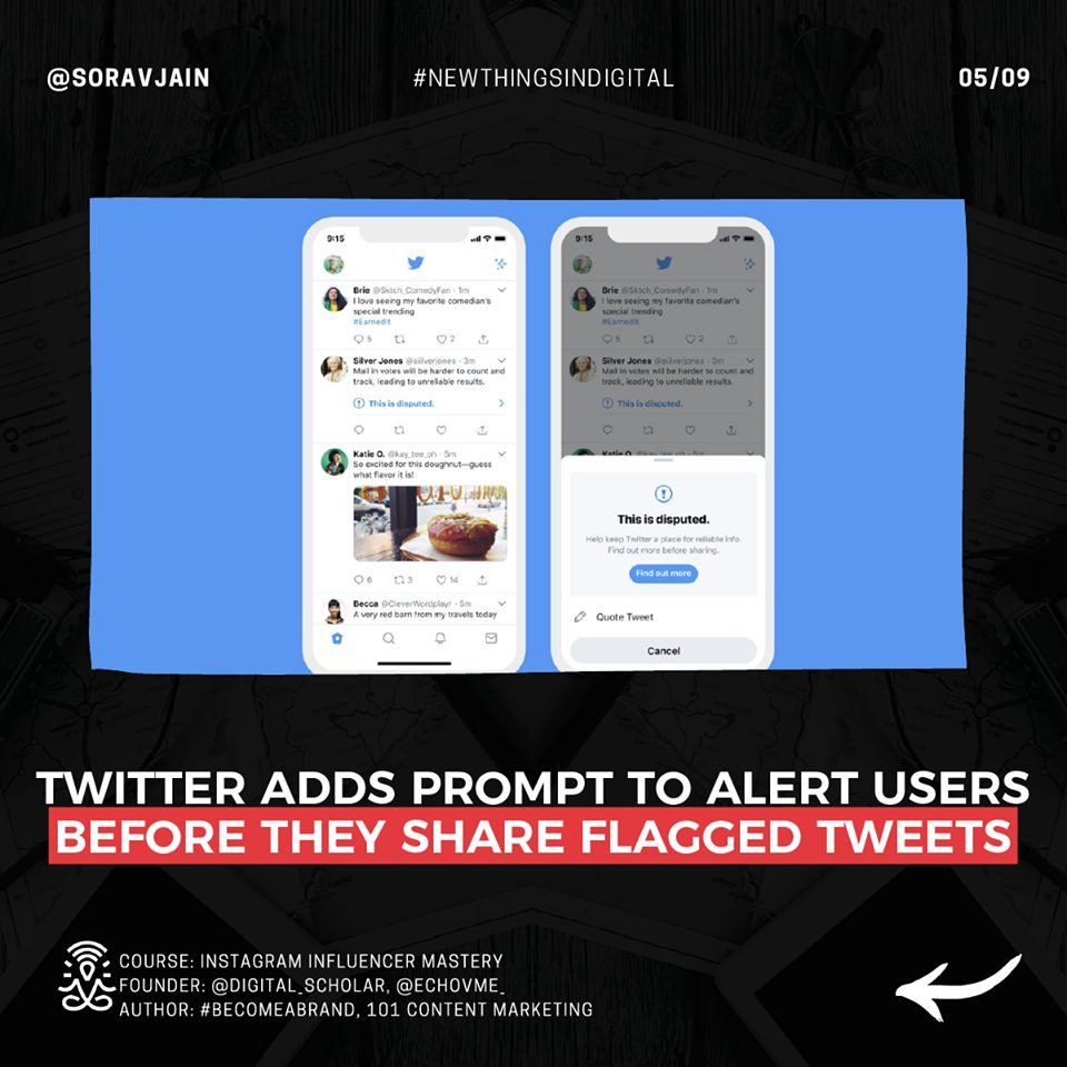Twitter Adds Prompt To Alert Users Before they Share Flagged Tweets